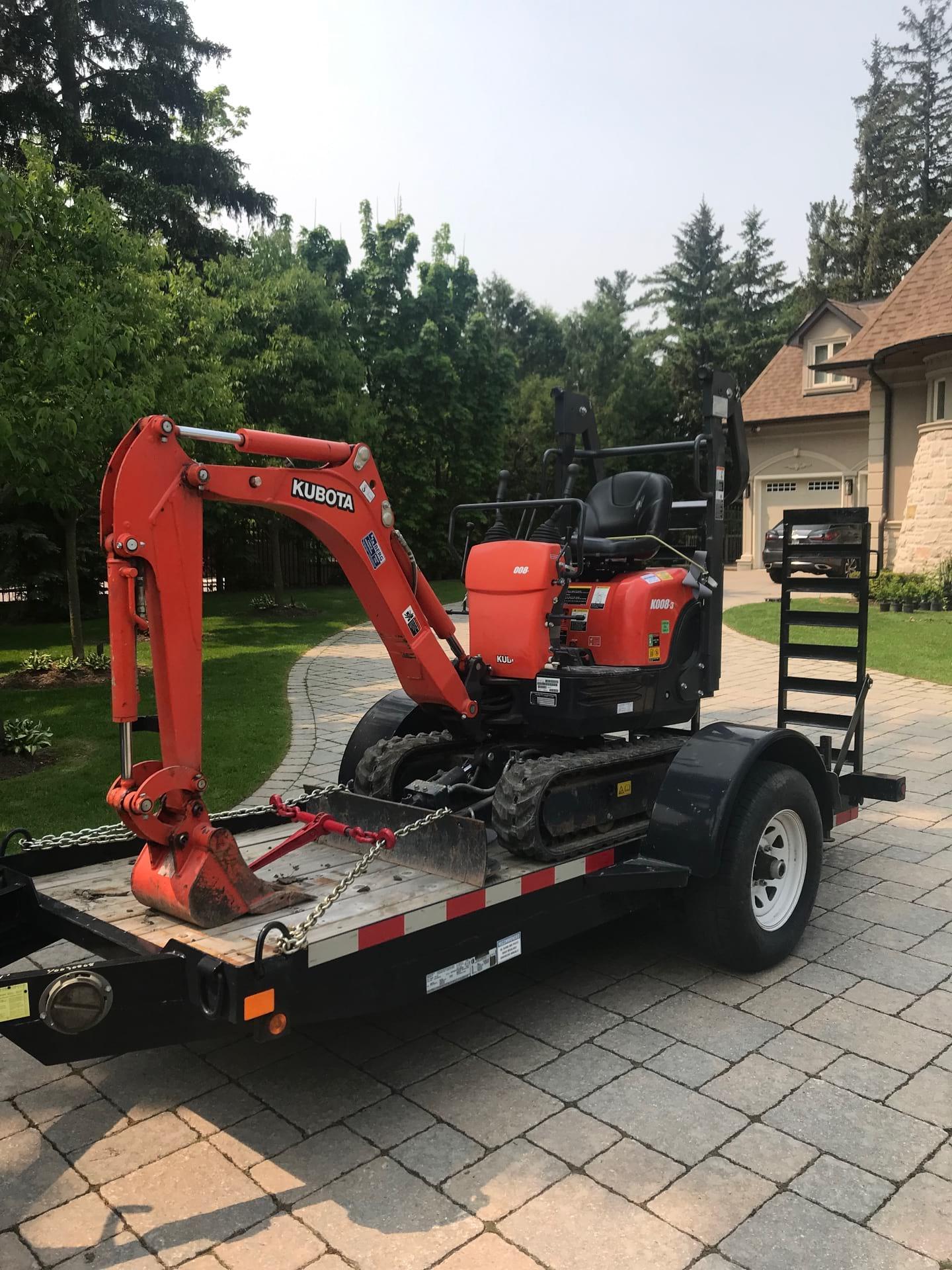 kubota 1ton mini excavator rental Toronto, Vaughan